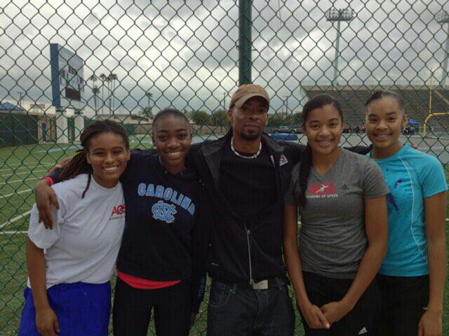 Forth picture: the AOS 4x200m relay team in January. They were the #1 team in California and #2 in the country. The girl 2nd to the left is Amanda VanBuren. She started the season as the fastest sprinter in the state. But she was forced to only train with her high school coach and never broke 12.00. She ran 12.00 and 24.54 as a 9th grader. She was still one on the fastest 9th graders in the state.