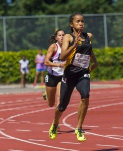 Zion Corrales Nelson running at the Harry Jerome Classic in Vancouver.