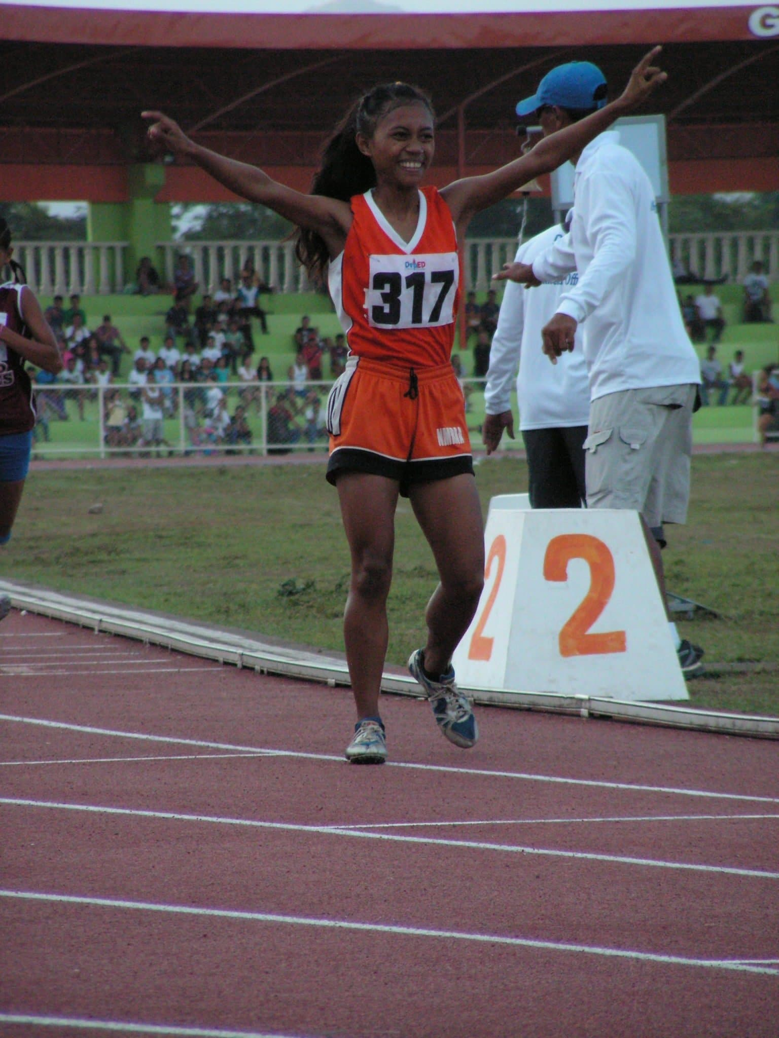 Geanne Calis celebrating after her strong finish.