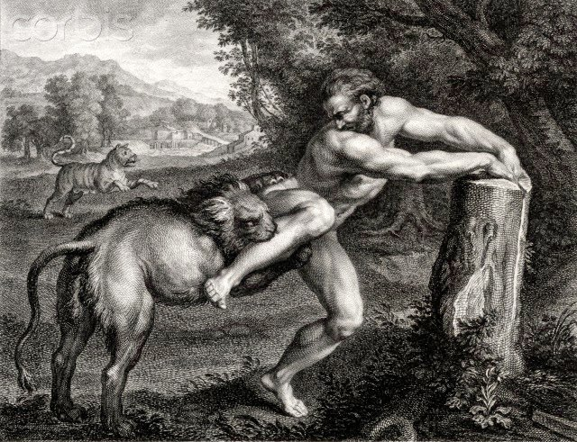 Eighteenth century engraving of a painting by Georges Georgion depicting the sixth century Greek wrestler Milo of Croton being attacked by a lion. --- Image by © Chris Hellier/Corbis