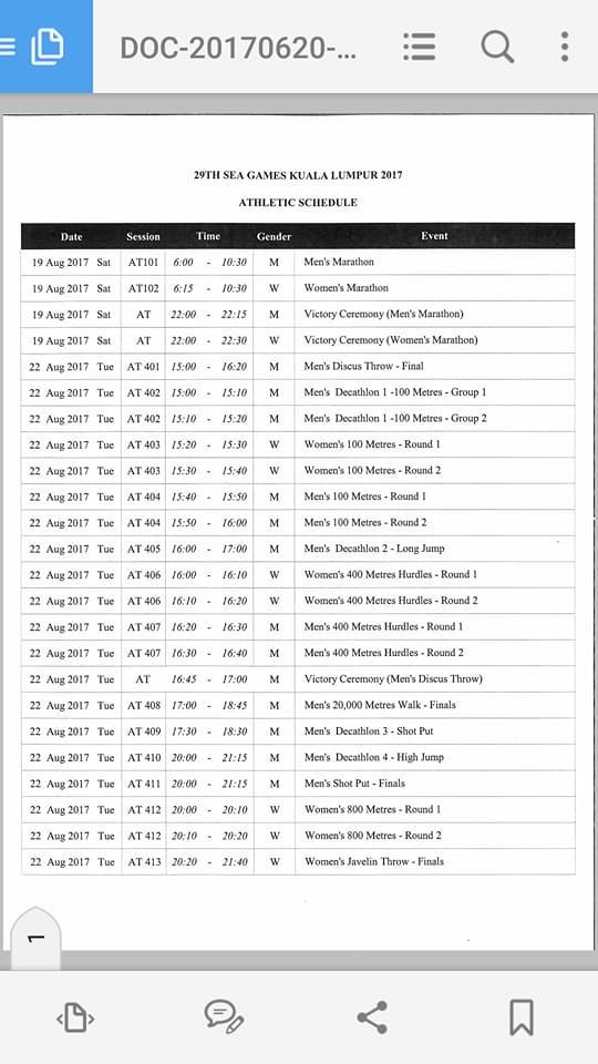 2017 SEA Games Athletics Schedule Malaysia