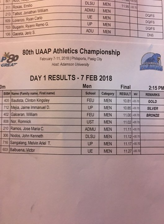 2018 UAAP Mens 100m Final