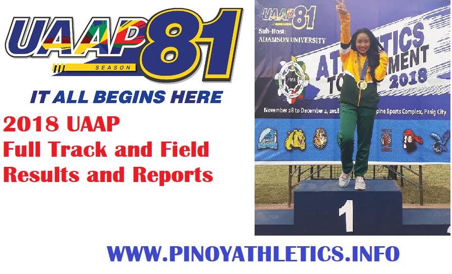 2018 UAAP Season 81 Athletics Results 1