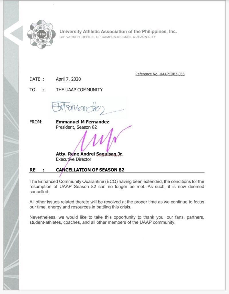 UAAP CANCELLED