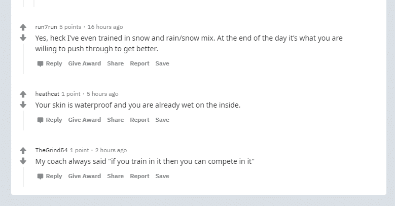 Can Athletes train in the rain? 22
