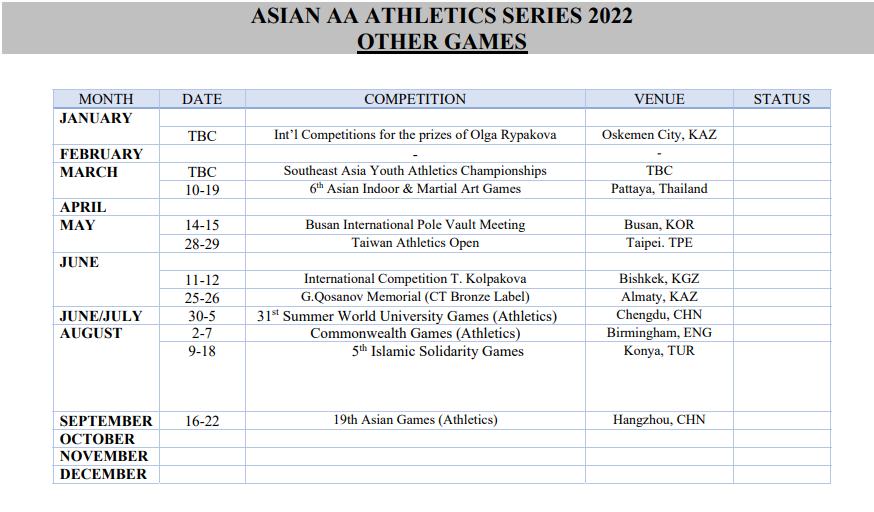 2022 Asian Athletics Calendar 2
