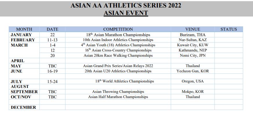 2022 Asian Athletics Calendar 1